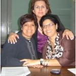 María Eugenia Jirón,  Mary Plazas y María Esther Becerra de los Diplomados de Comunicación Fundaudo.